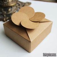 "Крафт-коробочка упаковочная ""клевер"", картон плотностью 380 мг, 8х8х3,5 см, 1 шт."