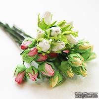 Бутончики роз, цвет белый, длина бутона 12-15мм, 10 штук