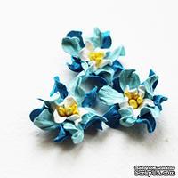 Гардения, цвет: голубой с синим, диаметр 2 см, 5 шт.