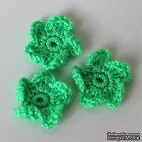 Вязаный цветочек ручной работы, цвет зеленый, 2,5 см, 1шт.