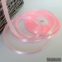 Атласная лента розовая, ширина 10 мм, длина 90 см