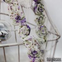 Лента с розочками, цвет: кремовый с сиреневым, ширина 18 мм, 30 см