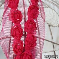 Лента с розочками, цвет: малиновый, ширина 18 мм, 30 см