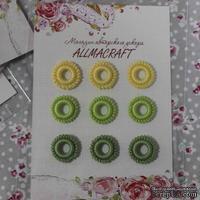 Декоративные вязаные колечки - в наборе от Allmacraft, желтый, зеленый, оливковый, 9 шт.