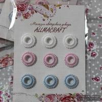 Декоративные вязаные колечки - в наборе от Allmacraft, белый, розовый, голубой, 9 шт.