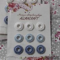 Декоративные вязаные колечки - в наборе от Allmacraft, белый, голубой, синий, 9 шт.