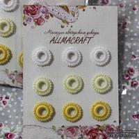 Декоративные вязаные колечки - в наборе от Allmacraft, белый, лимонный, желтый: 9 шт.