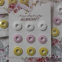 Декоративные вязаные колечки - в наборе от Allmacraft, белый, розовый, желтый, 9 шт.
