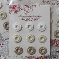 Декоративные вязаные колечки - в наборе от Allmacraft, белый, кремовый, бежевый, 9 шт.