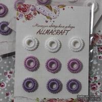 Декоративные вязаные колечки - в наборе от Allmacraft, белый, сиреневый, фиолетовый, 9 шт.