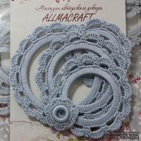 Набор вязанных рамочек  для фотографий от Allmacraft, круглые, цвет голубой, 4 шт.
