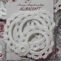 Набор вязанных рамочек  для фотографий от Allmacraft, круглые, цвет белый, 4 шт.