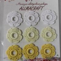 Вязаный мотив от Allmacraft - цветочки в наборе, белый-лимонный-желтый, 2.5 см, 9 шт.