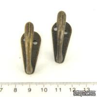 Крючок металлический, старая латунь. 36х36 мм,  1 шт.