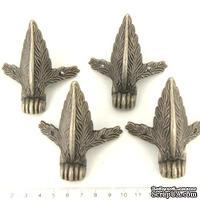 Ножки для шкатулок большие, античное серебро, 74х50 мм, 4 шт.