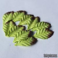Листики розы, светло зеленые, 20х15 мм, 10 шт.