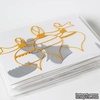 """Набор для создания новогодней открытки """"Елочные игрушки"""" - серебро+желтый"""