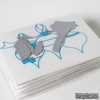 """Набор для создания новогодней открытки """"Елочные игрушки"""" - серебро+голубой"""