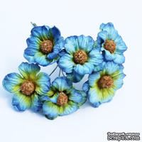 Ромашки, цвет голубой, 6 шт.