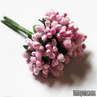 Веточки с ягодками, цвет розовый, 12 штук