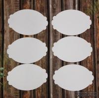 Вырубка из белого картона - набор фигурных овалов, 6 штук, 9 см х 6,5 см