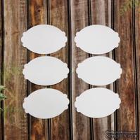 Вырубка из белого картона - набор фигурных овалов, 5 см х 3,5 см, 6 штук