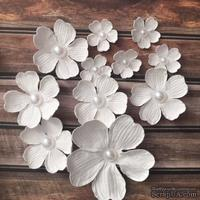 "Набор белых цветов ""Фантазия""  диаметр - 65, 40, 22 мм, цвет белый 11 шт."