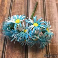 Хризантемы, бело-голубые, диаметр 20-25мм, стебелек 10 см, 10 шт.