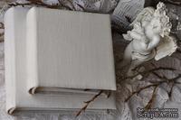 Альбом от Светланы Ковтун в классическом переплете с тканевым покрытием, лен молочный, 20х20 см, 5 разворотов, расст. 7 мм