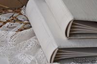 Альбом от Светланы Ковтун в классическом переплете с тканевым покрытием, лен молочный, 15х15 см, 5 разворотов, расст. 7 мм