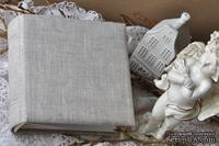 Альбом от Светланы Ковтун в класс. переплете с тканевым покрытием, лен светло-серый, 15х15 см, 5 разворотов, расст. 7 мм