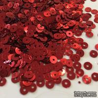 Пайетки круглые плоские 4 мм, красные 6 г