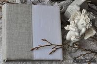 Альбом от Светланы Ковтун в класс. переплете с ткан. покрытием, лен комбинир. верт. серый-белый, 20х20 см, 5 разворотов, расст. 7 мм