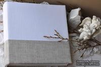 Альбом от Светланы Ковтун в класс. переплете с ткан. покрытием, лен комбинир. гориз. серый и белый, 30х30 см, 6 разворотов, расст. 7 мм