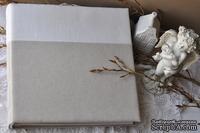 Альбом от Светланы Ковтун в классическом переплете с тканевым покрытием, лен комбинир. гориз. молочный и пес.-серый, 30х30 см, 4 разворот, расст. 1 см