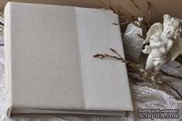 Альбом от Светланы Ковтун в классическом переплете с тканевым покрытием, лен комбинир. вертик. молочный и пес.-серый, 30х30 см, 5 разворотов, расст. 7 мм