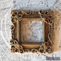 Гипсовая рамочка квадратная под античное золото от Е.В.A, 6х6см, 1 шт. - ScrapUA.com