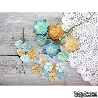 Набор цветов TM Iris - First Love песочно-голубой микс, 25-40 мм, 21 шт