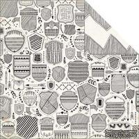 Лист скрапбумаги My Mind's Eye - Jubilee Tangerine - Awesome Shield, 30х30 см, двусторонняя