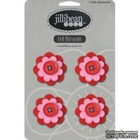 Набор цветов из фетра Jillibean Soup - Felt Blossoms - Red