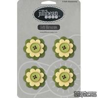 Набор цветов из фетра Jillibean Soup - Felt Blossoms - Green