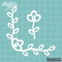 Чипборд от Вензелик - Уголок + цветочек, размер: 8,6 x 8,9 см