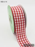 Лента от May Arts - Solid Checkered Ribbon, цвет красный, 4 см, 90 см.