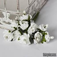 Белые цветочки на стебельке,  20мм, 10 шт.