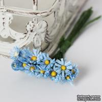 Хризантемы, голубые, цветочек 15 мм, стебелек 10 см, 10 шт.