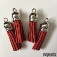 Подвеска - Кисточка из замши с серебристым наконечником, 35х10 мм, цвет красный