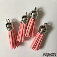 Подвеска - Кисточка из замши с cеребристым наконечником, 35х10 мм, цвет розовый