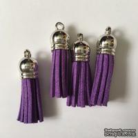 Подвеска - Кисточка из замши с серебристым наконечником, 35х10 мм, цвет фиолетовый