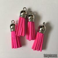 Подвеска - Кисточка из замши с серебристым наконечником, 35х10 мм, цвет ярко-розовый