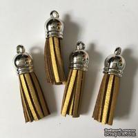 Подвеска - Кисточка из замши с серебристым наконечником, 35х10 мм, цвет золотой